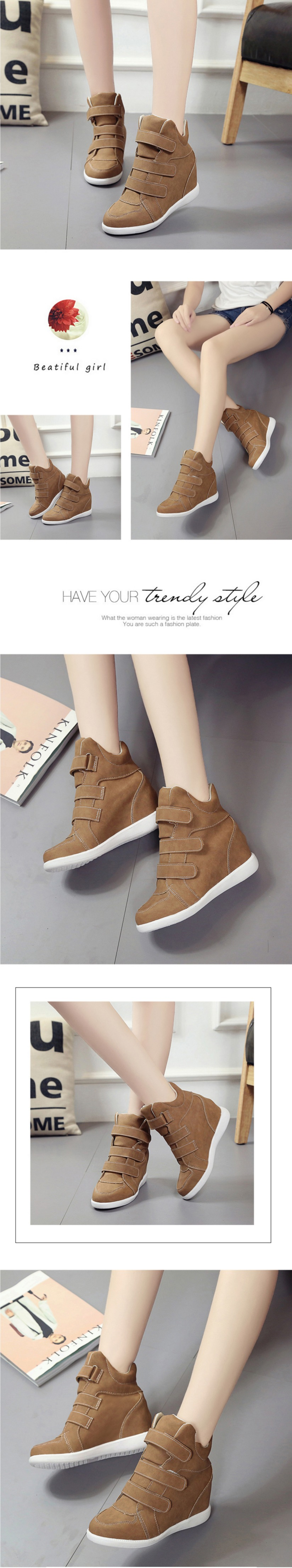 รองเท้าผ้าใบส้นสูง Velcro หนัง PU