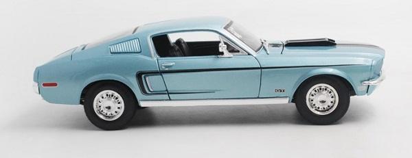 โมเดลรถ โมเดลรถเหล็ก โมเดลรถยนต์ Ford Mustang GT Jet 1968 ฟ้า 3