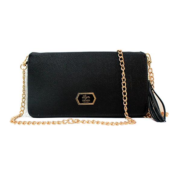 [ พร้อมส่ง ] - กระเป๋าสตางค์แฟชั่น ใช้เป็นกระเป๋าคลัทช์ได้ สีดำคลาสสิค ใบใหญ่สุดหรู สไตล์แบรนด์ดัง หนัง Saffiano แต่งโลโก้ LYN งานสวยโดดเด่น หนังคุณภาพตัดเย็บอย่างดี น่าใช้มากๆค่ะ มีสายโซ่สะพายยาว