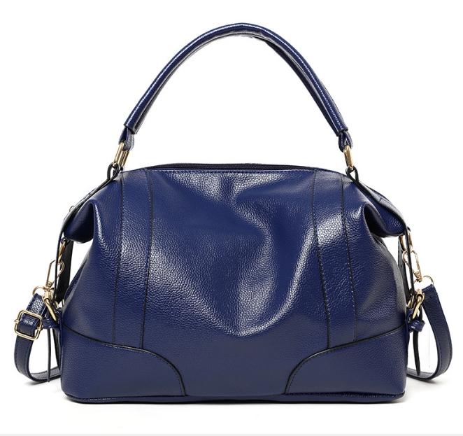 [ พร้อมส่ง ] - กระเป๋าถือ/สะพาย สีน้ำเงินเข้ม ทรงหมอน ดีไซน์สวยเก๋เท่ๆ ดูดี งานหนังสวยค่ะ