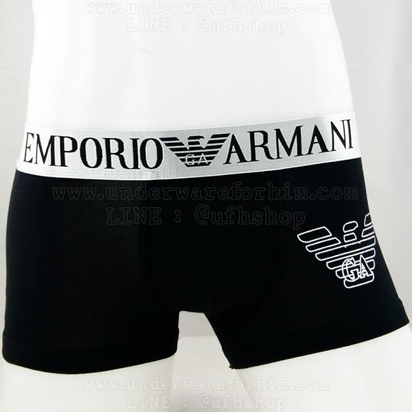 กางเกงในชาย Emporio Armani Boxer Briefs : สีดำ ขอบเงิน EA