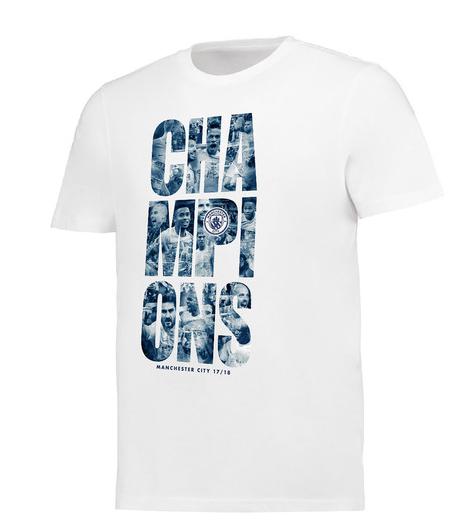 เสื้อทีเชิ้ตแมนเชสเตอร์ ซิตี้ แชมป์พรีเมียร์ลีก 2018 สีขาวของแท้