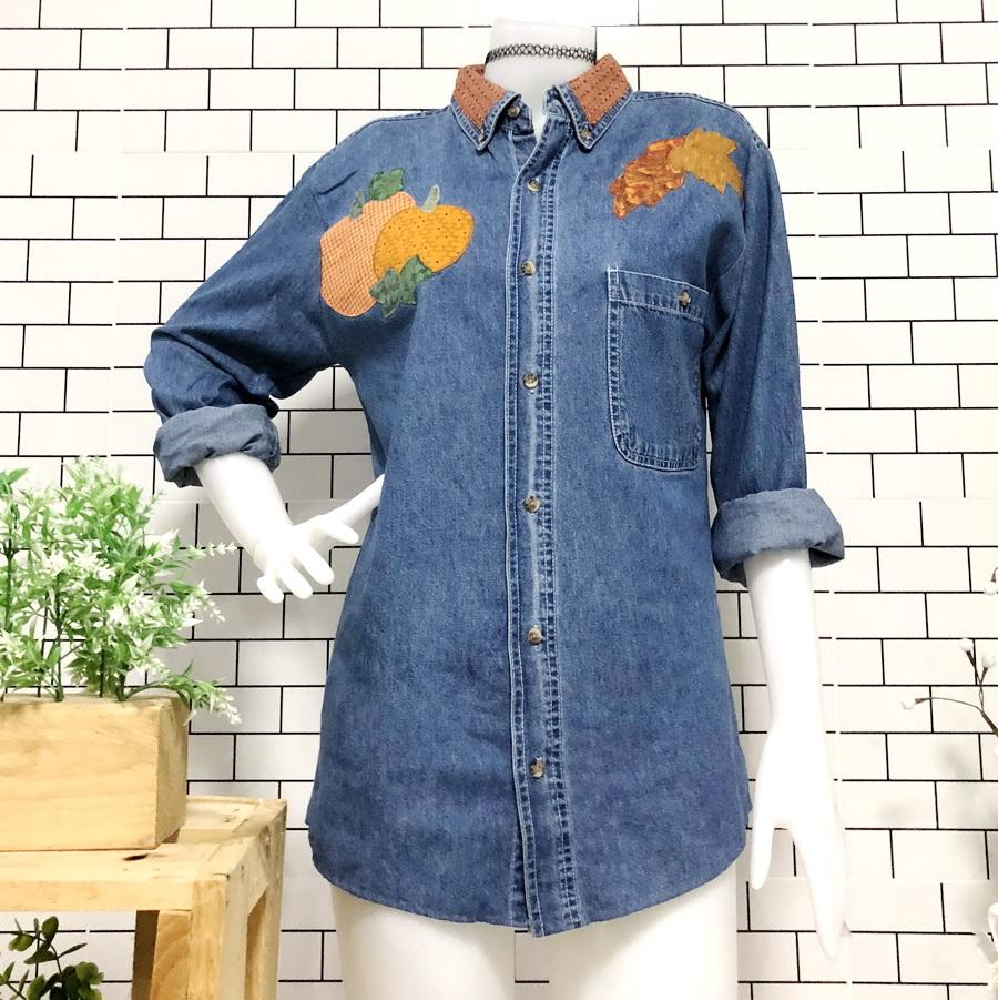 ส่ง:งานจีนเสื้อยาวปกเชิ้ตแต่งปักแบบสวยๆ/อก36