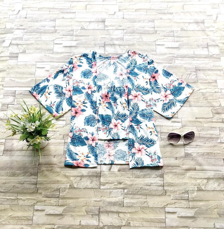 ส่ง:2ชิ้น/เสื้อเกาะอก+เสื้อคลุมลายดอกสดใสสาวอวบใส่ได้/อก42