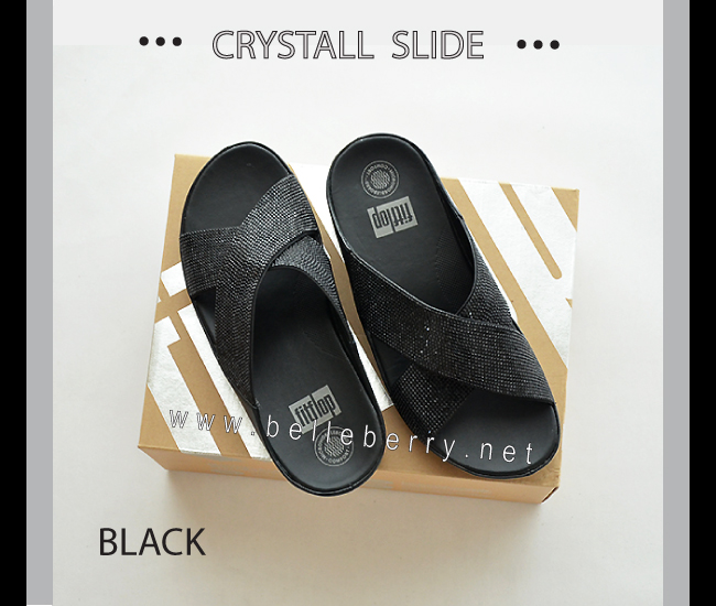 * NEW * FitFlop CRYSTALL Slide : Black : Size US 5 / EU 36