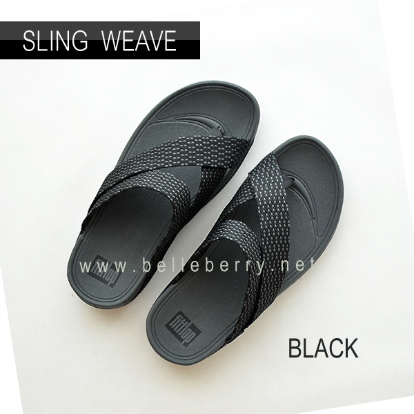 * NEW * FitFlop : SLING WEAVE : Black / Dark Shadow : Size US 8 / EU 41