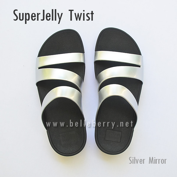 รองเท้า FitFlop SUPERJELLY TWIST : Silver Mirror : Size US 6 / EU 37