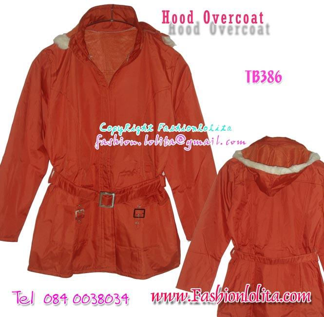 TB386 :Hood Overcoat: ใหม่! เสื้อคลุมกันหนาว มีหมวดฮูด สีส้มอิฐ มีเข็มขัดเก๋
