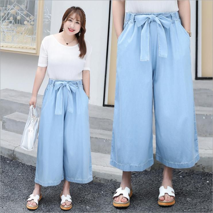 กางเกงยีนส์ฟอกทรงculotte (XL,2XL,3XL,4XL) YZK006
