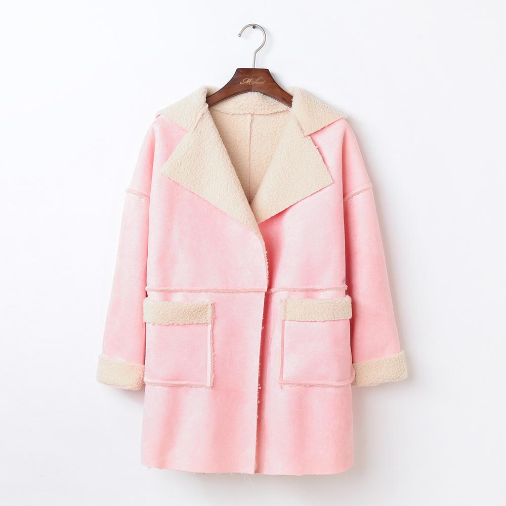 """size M""""พร้อมส่ง""""เสื้อผ้าแฟชั่นสไตล์เกาหลี ราคาถูก เสื้อโค้ทสีชมพูผ้าแคชเมียร์ คล้ายๆหนังนิ่มๆ ด้านในบุขนแกะเทียม กระเป๋า 2 ข้าง -size M"""