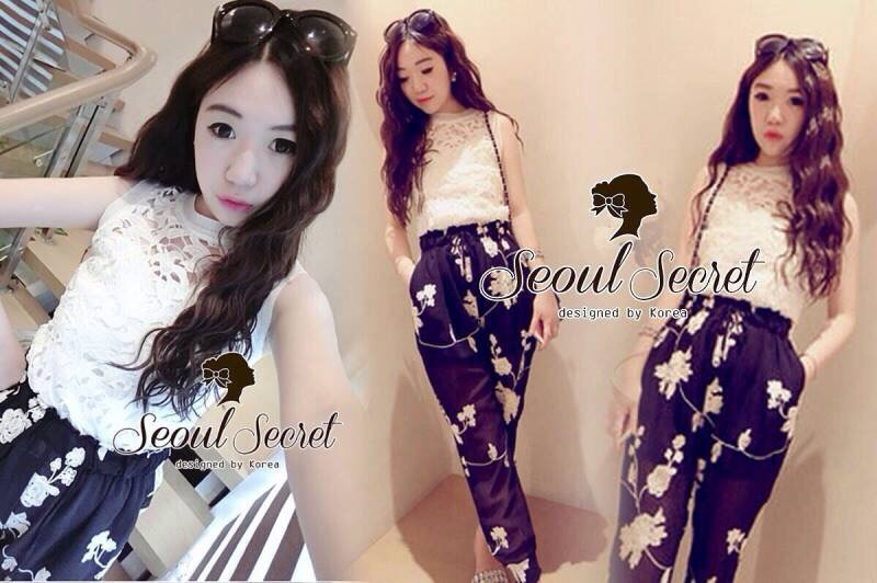 Seoul Secret Say's .. Chic'n Chic Set Cami Lace with Flora Pant
