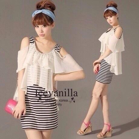Chic Striped with flounced chiffon mini Dress style korea