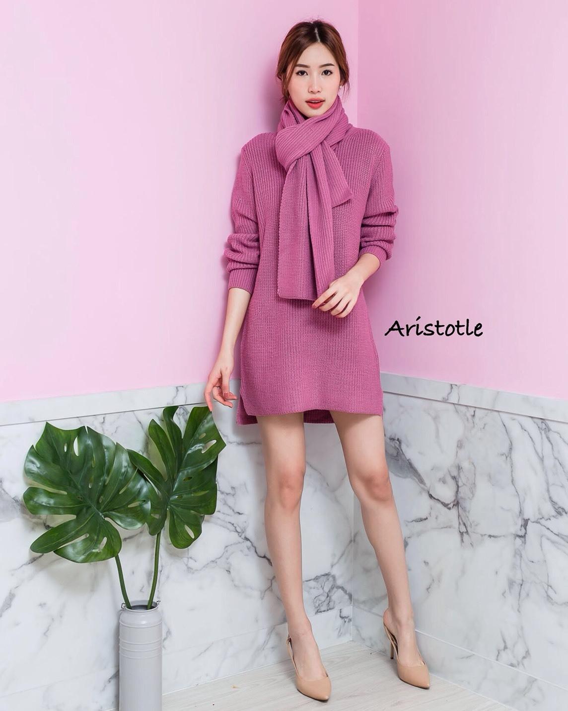 เสื้อผ้าเกาหลีพร้อมส่ง Knit style เสื้อไหมพรมมาพร้อมผ้าพันคอ