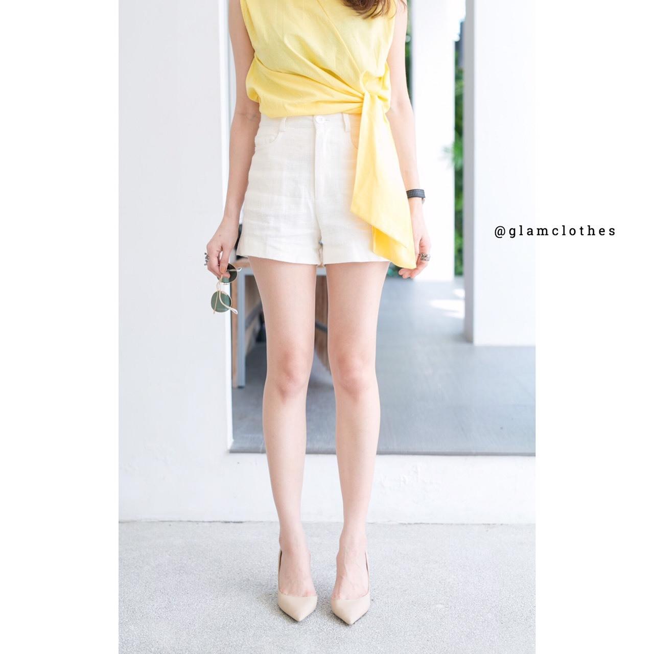 เสื้อผ้าแฟชั่นเกาหลีพร้อมส่งกางเกงขาสั้นผ้าลินินมีกระดุมและมีซิป