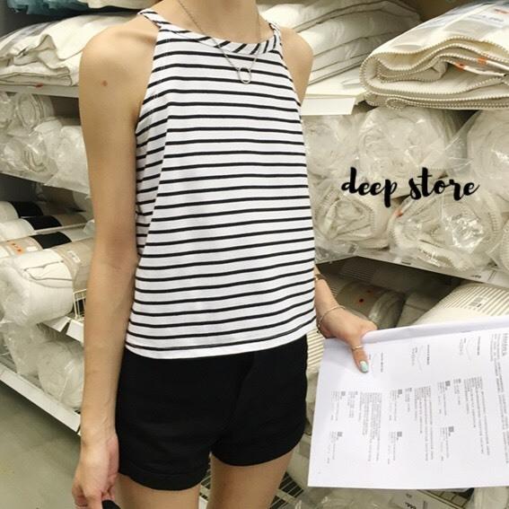 เสื้อผ้าแฟชั่นพร้อมส่ง Baby Stripe เสื้อสายเดี่ยว ลาย Stripe ผ้ายืดเนื้อดีมากๆ