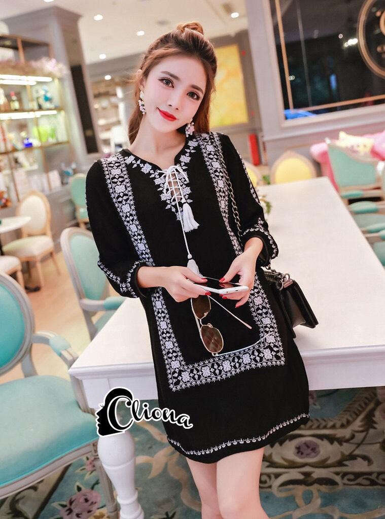 ชุดเดรสเกาหลี พร้อมส่งMini Dress โบฮีเมี่ยนสีดำ