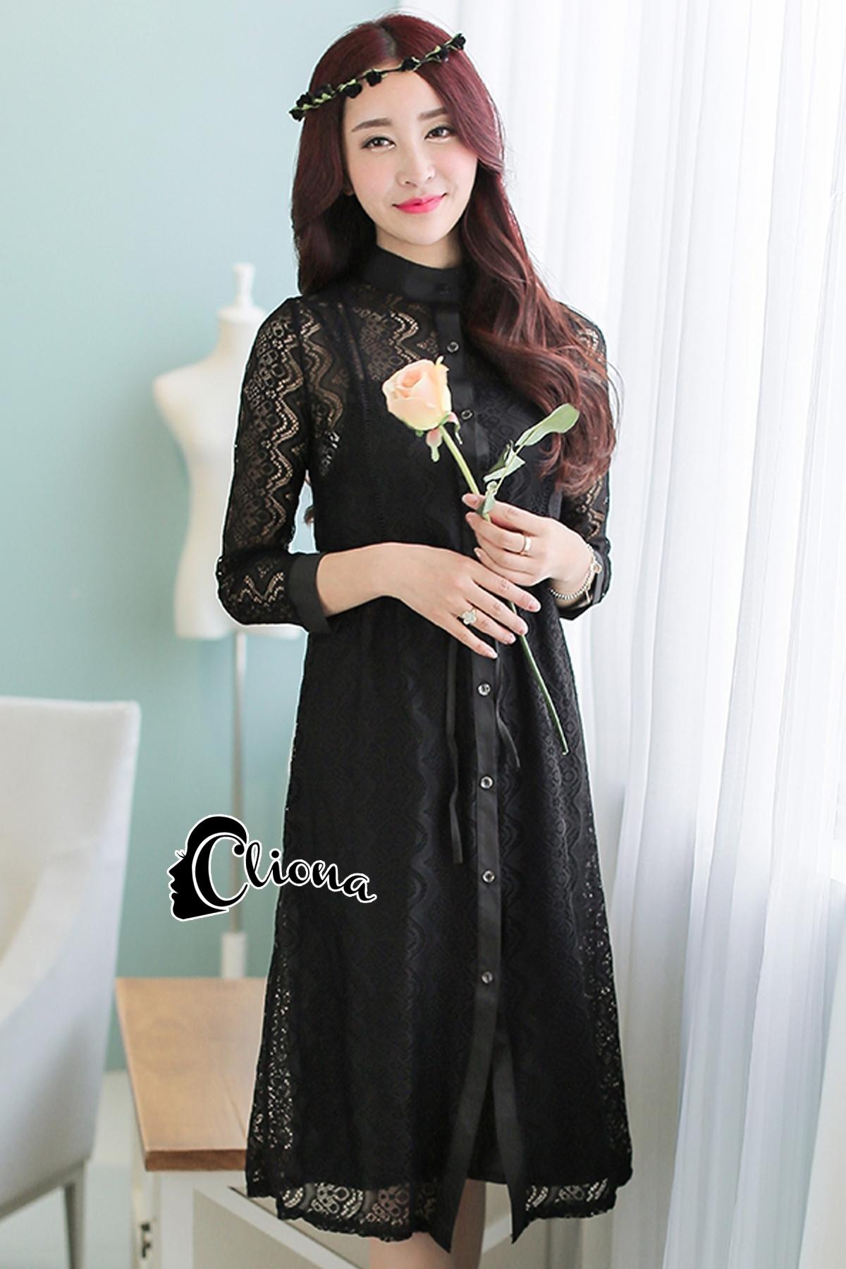 ชุดเดรสเกาหลี พร้อมส่ง Black Angelina Lace Long Shirt Dress