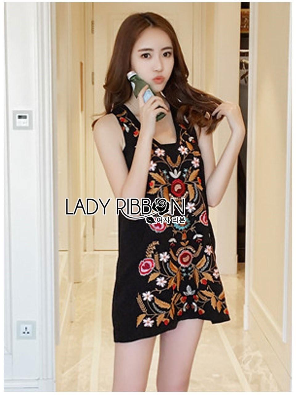 ชุดเดรสเกาหลีพร้อมส่ง เดรสแขนกุดผ้าคอตตอนสีดำปักลายดอกไม้ส
