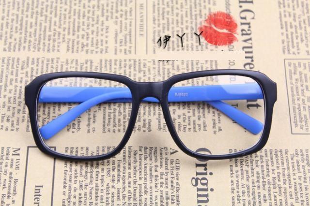 แว่นตาแฟชั่นเกาหลี กรอบดำฟ้า (ไม่มีเลนส์) (ของจริงสีออกฟ้าน้ำทะเล)