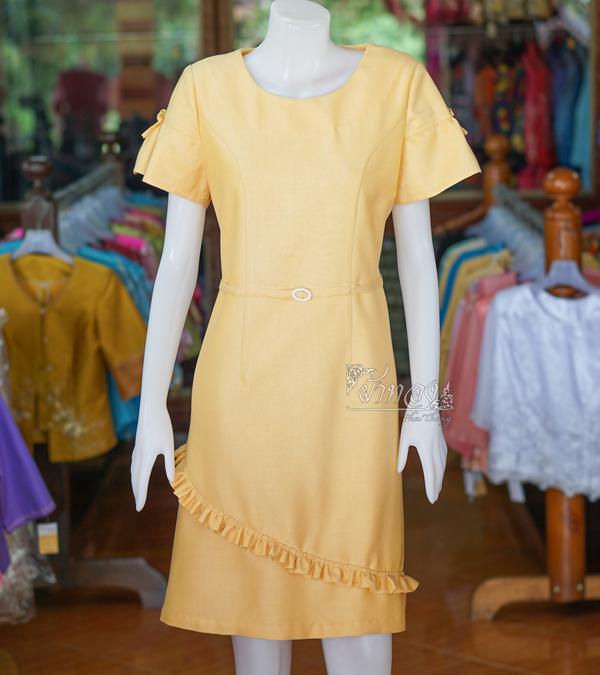 เดรสผ้าฝ้ายสุโขทัย สีเหลือง ไซส์ 2XL