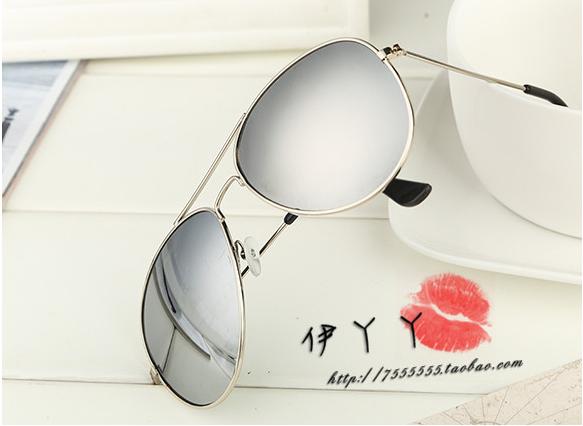 แว่นตากันแดดแฟชั่นเกาหลี กรอบสีเงินเลนส์ปรอทกระจกเงา
