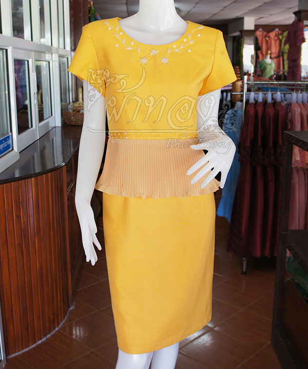 เดรสผ้าฝ้ายสุโขทัยสีเหลือง แต่งผ้าชีฟองอัดพลีท ไซส์ M