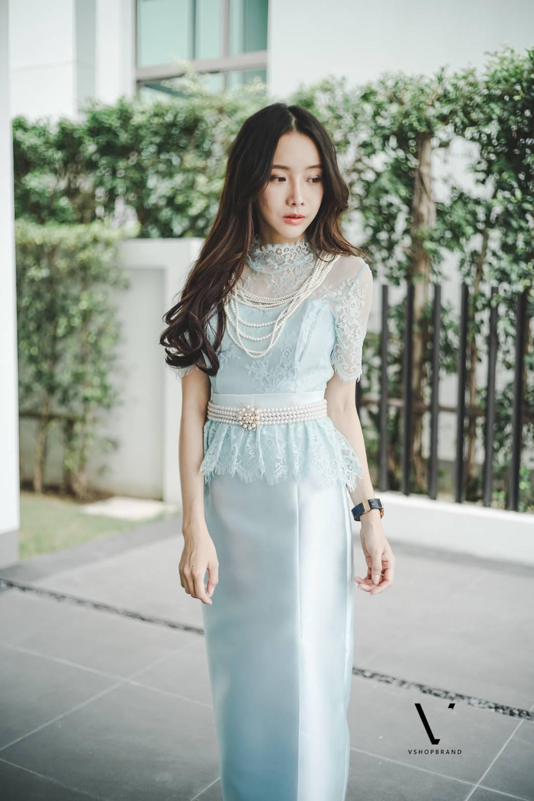 ชุดเซ็ตไทยประยุกต์สีฟ้า