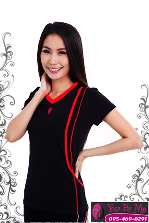 AC701-61 เสื้อโยคะแขนสั้น ผ้าสเปนเด็กซ์สีดำ/แดง