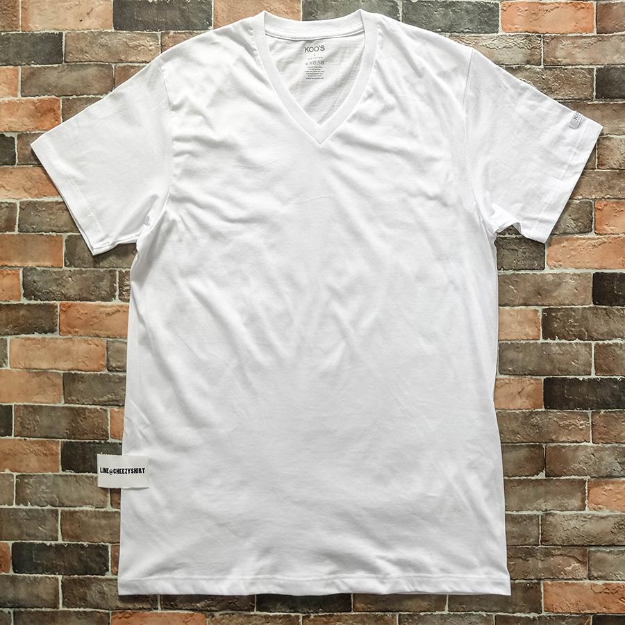 เสื้อยืดแฟชั่น คอวี สีพื้น ขาว
