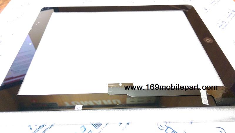 ทัชสกรีน (จอนอก) iPad 3 (The New iPad) ปุ่มโฮม+กาว 3M สีดำ
