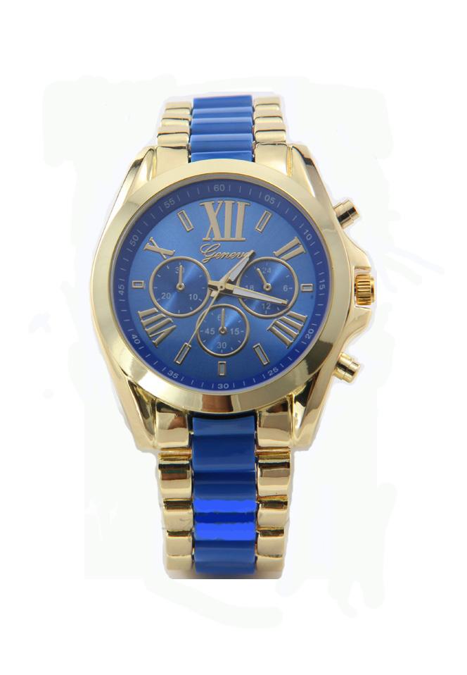 geneva Quartz watches women นาฬิกาผู้หญิง แบรนด์ของฮ่องกง ระบบควอทด์ กันน้ำ กันสนิม สีน้ำเงิน