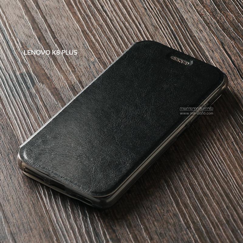 เคส Lenovo K8 Plus เคสฝาพับบางพิเศษ พร้อมแผ่นเหล็กป้องกันของมีคม พับเป็นขาตั้งได้ สีดำ