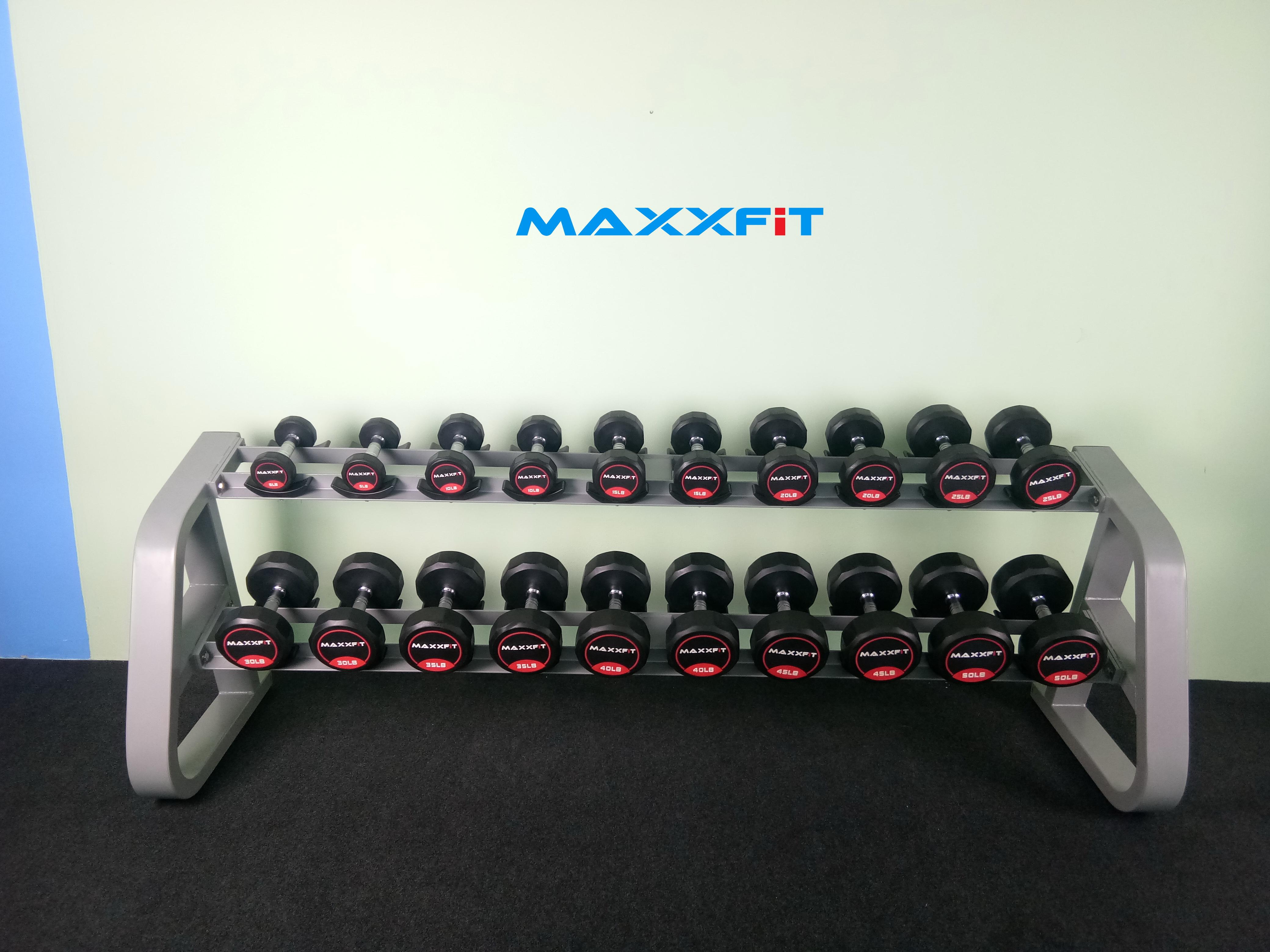ชุดดัมเบล MAXXFiT ทรง 12 เหลี่ยม ขนาด 5 - 50 LBS. (10 คู่) พร้อมชั้นวาง 2 ชั้น 10 คู่ สีเทา
