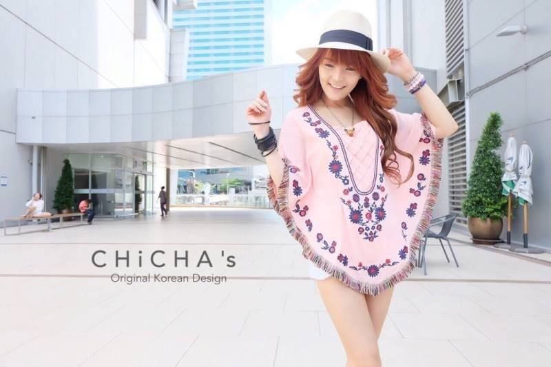 Florally Embroidery Blouse สีชมพู C143-49A15