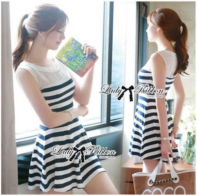 DR-LR-194 Lady Suzi Basic Chic Striped Mini Dress