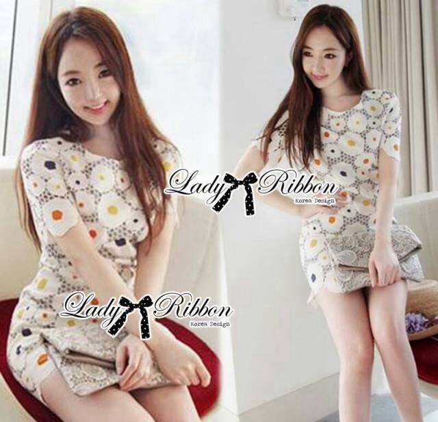 DR-LR-212 Lady Vivid Floral Lace Mini dress, Partysu Korea