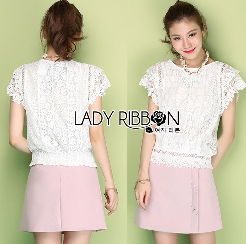 Lady Rachel Classic Vintage White Lace Blouse L274-6914