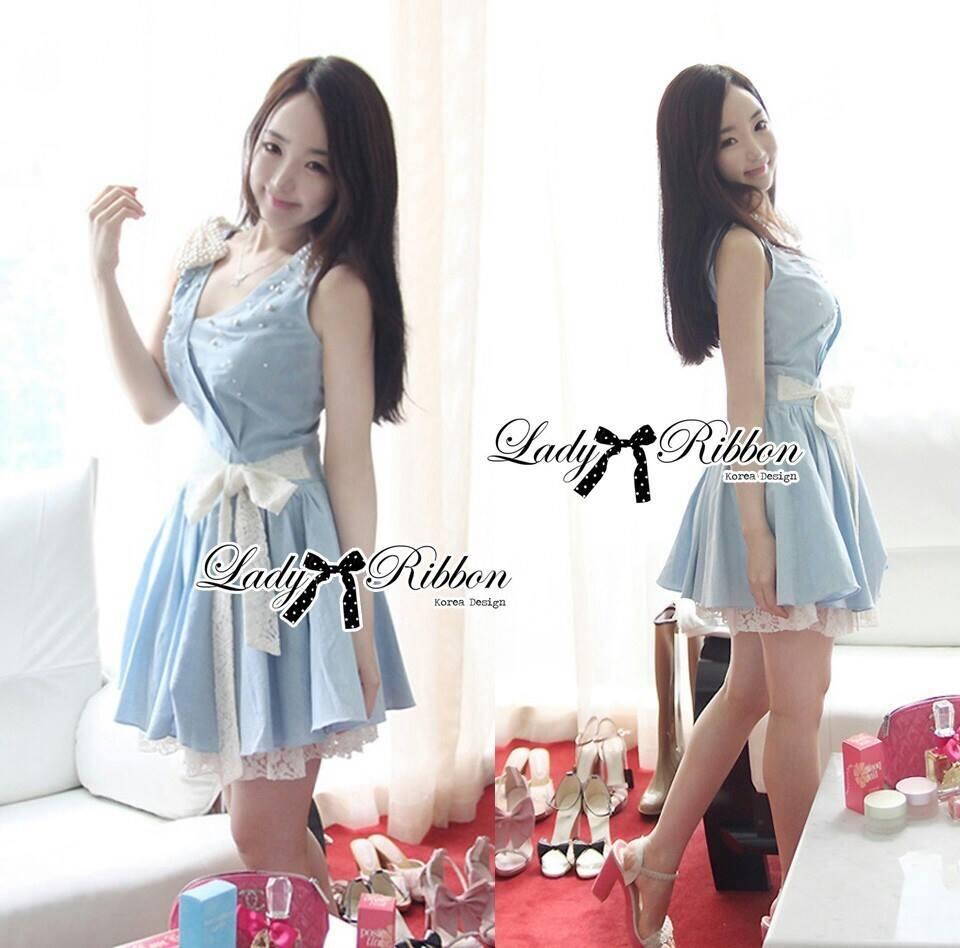 DR-LR-065 Lady Maria Pretty Delicate Pearly Denim Dress