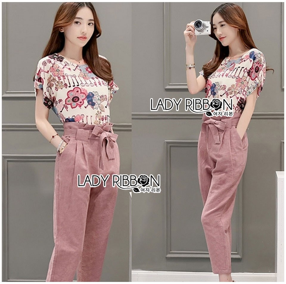 Lady Jennifer Floral Printed Top and Pink Ribbon Pants Set L260-7906