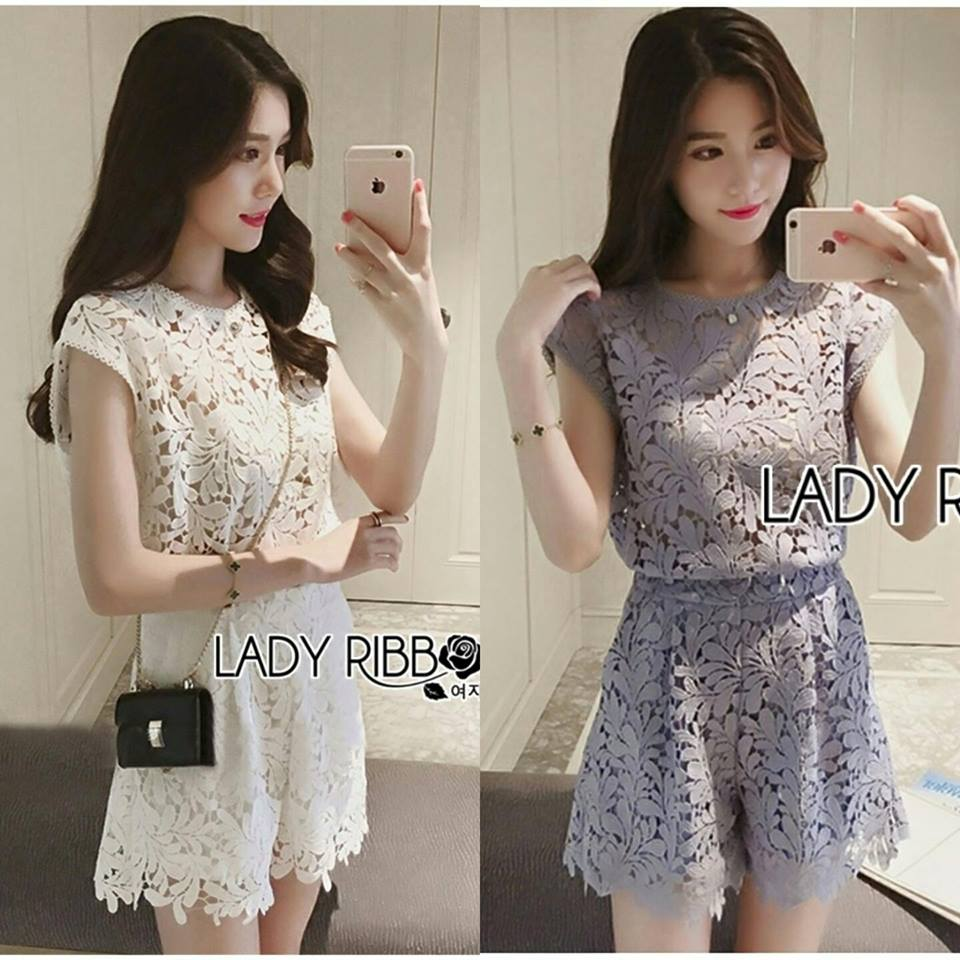 Lady Jessie Minimal Feminine Lace Sleeveless Top and Lace Shorts Set L268-7901