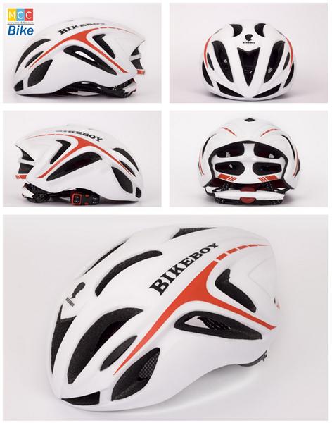 หมวกกันน๊อค จักรยาน BikeBoy สีแดงขาว พร้อมกระเป๋า BikeBoy