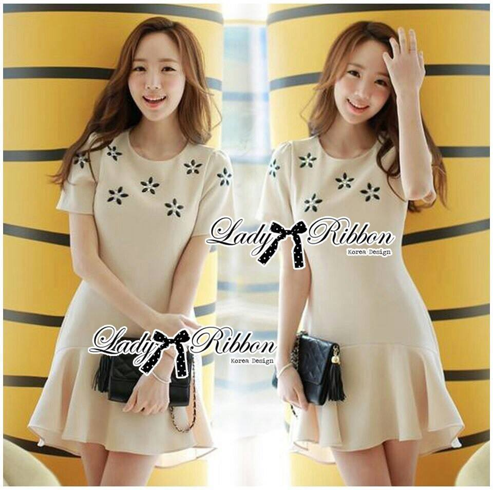 DR-LR-092 Lady Eva Sweet Perfect Embellished Flower Mini Dress
