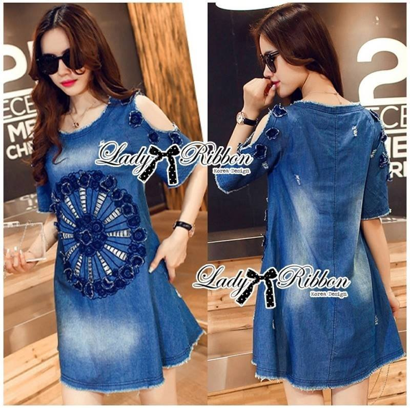 Lady Rose Embroidered Cut-Out Shoulder Denim Dress L193-79C07