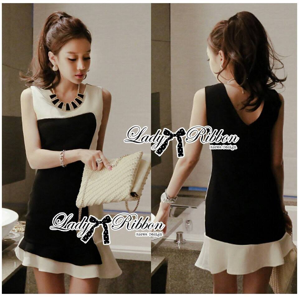 DR-LR-156 Lady Rachel Minimal Chic Ruffle Dress in Black and White
