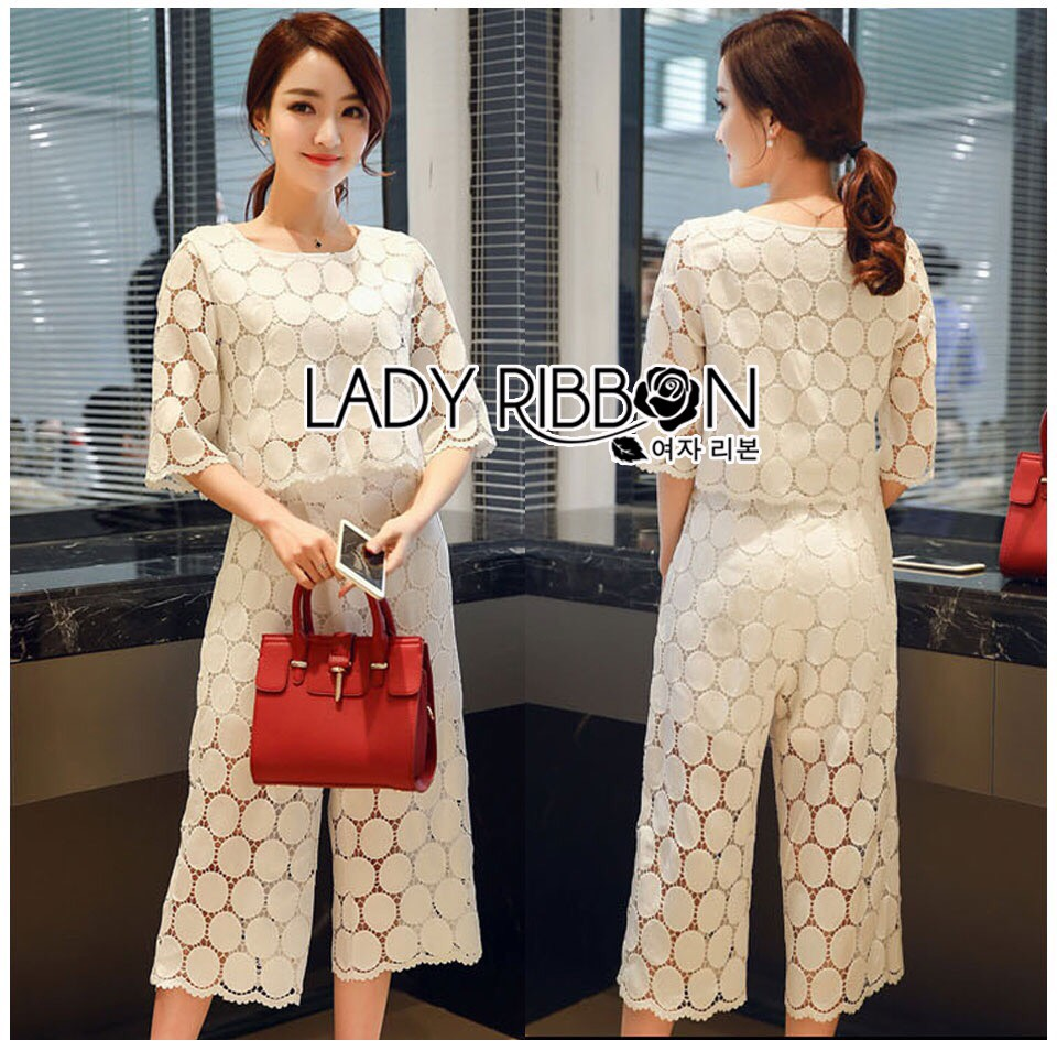 Lady Ariana Round n' Round Cotton Embroidered Top and Pants Set L273-8911