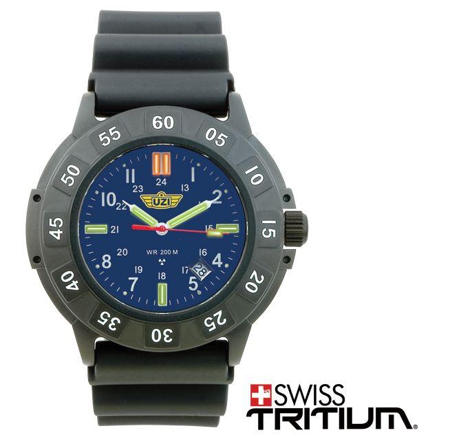 นาฬิกาแนวทหาร นาฬิกาภาคสนาม UZI Protector Swiss Tritium Blue หน้าปัดสีน้ำเงิน สายข้อมือยาง