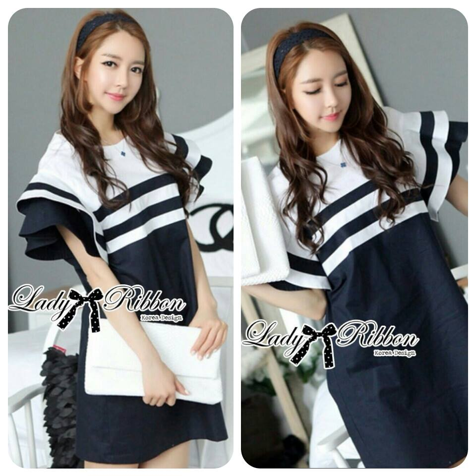 DR-LR-155 Lady Natasha Striped Dress in Navy Style