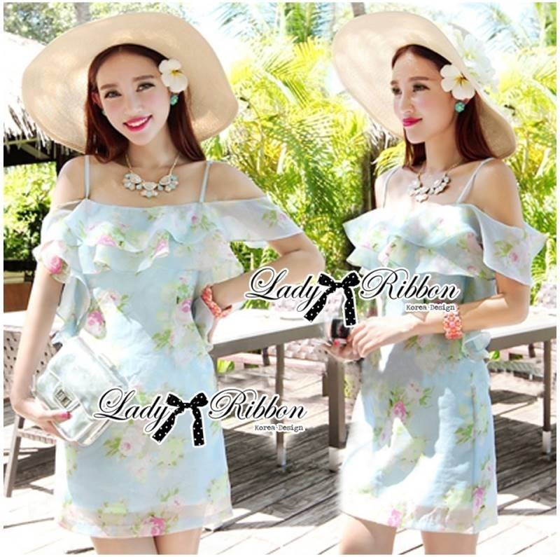 Lady Selena Sweet Feminine Floral Printed Silk Cotton Ruffle Dress (สีฟ้า)