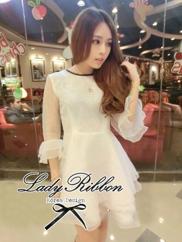 DR-LR-031 DLady Pure White Organza Mini dress