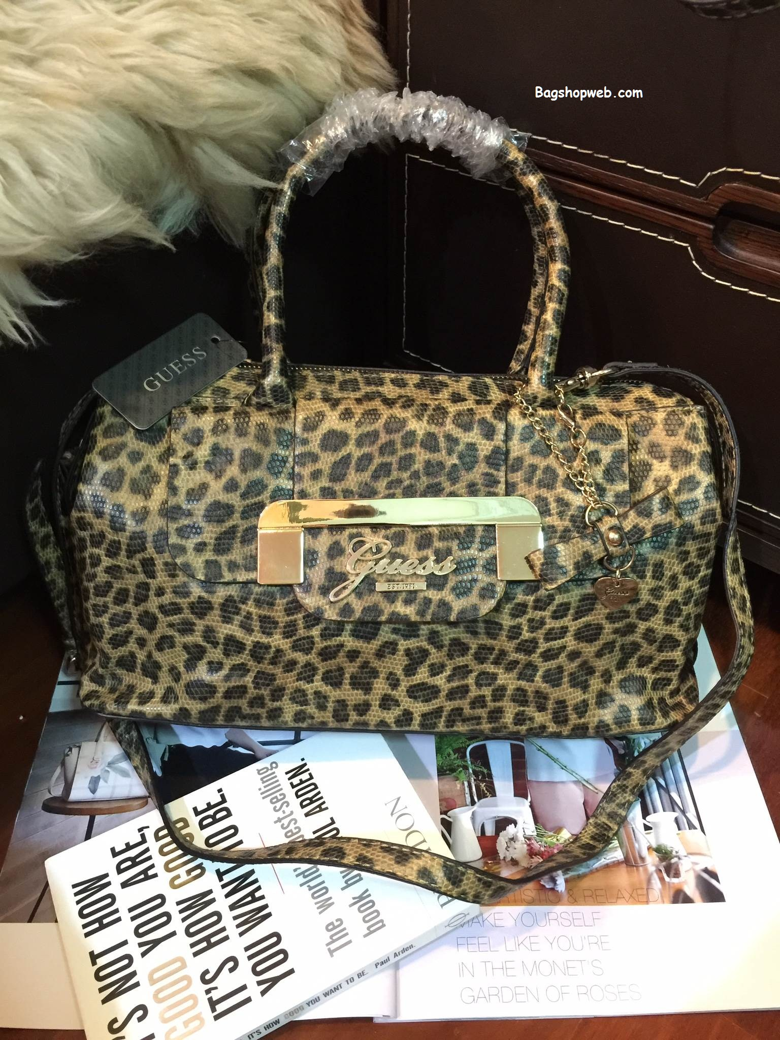 กระเป๋า Guess Gold LeoPard Leather Bowling Bag